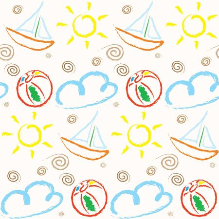child's: Holiday Pattern with basic childs drawings of Sun, Cloud, Ball, Shell and Sailing Boat on Sand color background. Stock Photo
