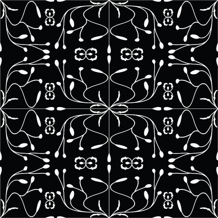 Abstract floral background. White on black. Stock Vector - 3932192