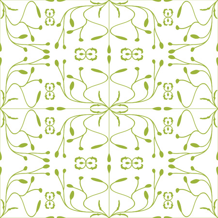 Abstract floral background. Green on white. Vector