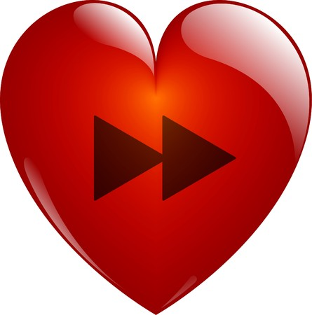 Forward. Glassy Red Heart Button on White. Isolated with Clipping Path. photo