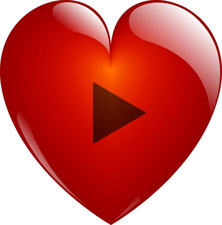 Play. Glassy Red Heart Button on White. Isolated with Clipping Path. photo