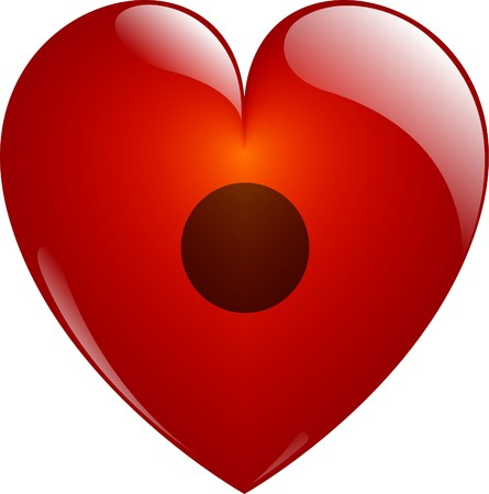 Rec. Glassy Red Heart Button on White. Isolated with Clipping Path. photo