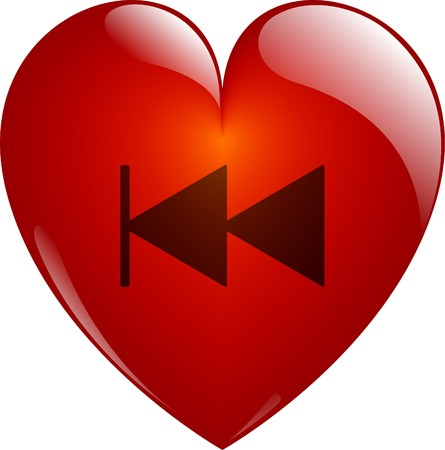 Rewind. Glassy Red Heart Button on White. Isolated with Clipping Path. photo