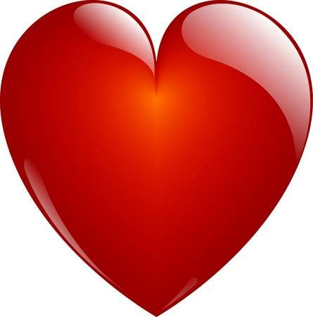 shiny hearts: Glassy Red Heart Button on White. Isolated with Clipping Path.