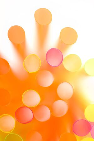 Cluster of colorful straws in close up view. Soft focus. Abstract background. Stock Photo - 5447997