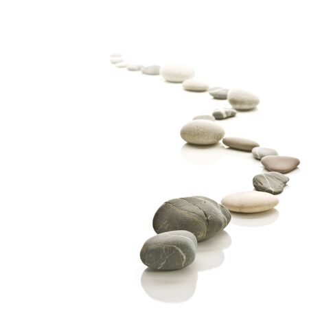white stone: Stone path arranged to a zigzag. Fades to white background. Square format.