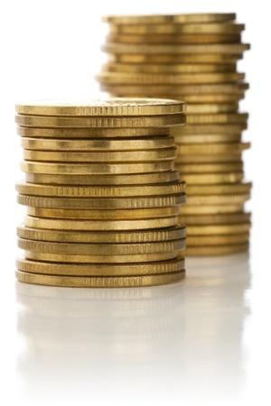 accounts payable: Stacks of golden coins. Stock Photo