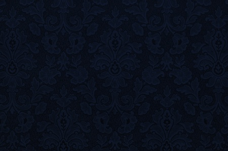 blue silk: Floral vintage wallpaper background. Deep dark blue color, almost black. Stock Photo