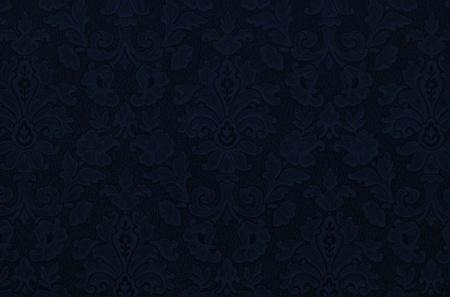 Floral vintage wallpaper background. Deep dark blue color, almost black. Stock Photo