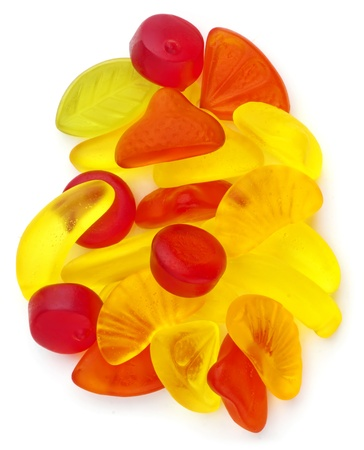 flavoured: Different fruit jellies in different colors on white background. Stock Photo