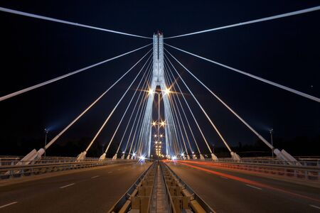 Night view of the new Swietokrzyski (Syrena) Bridge in Warsaw. Stock Photo - 10836558