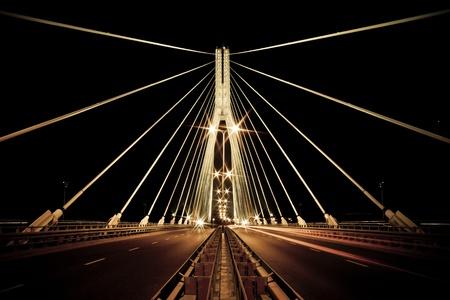 Night view of the new Swietokrzyski (Syrena) Bridge in Warsaw. Retro style.