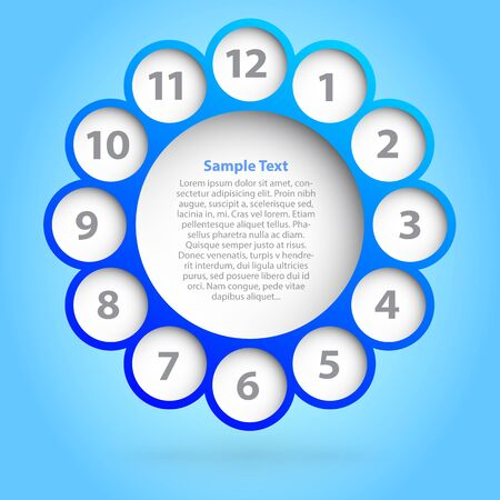 Illustration of a clock with bubbles and space for your text