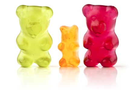 gummi: Famiglia di orsi gelatina su sfondo bianco Archivio Fotografico