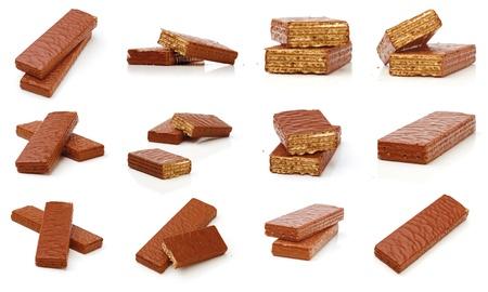 Set mit Schokolade Waffeln auf weißem Hintergrund Lizenzfreie Bilder