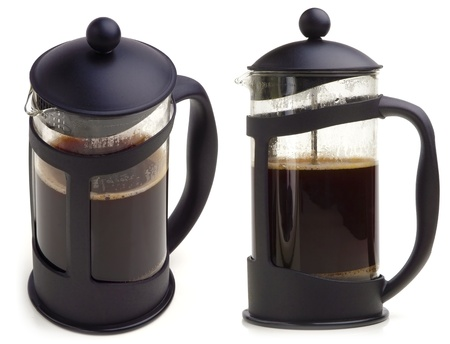 coffee set: French press coffee maker on white background  In two scenes