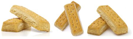 british food: Set of shortbread fingers on white background