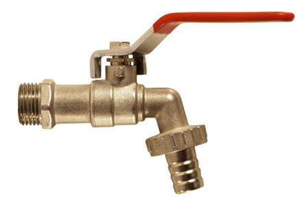 water hose: Faucet isolated on white background. Clipping Path.