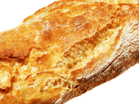 baguet: Closeup view of Fresh Baguette, over the white background.