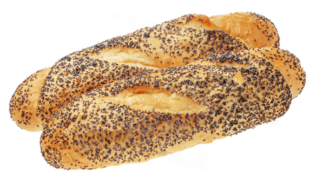 baguet: Fresh Buns, over the white background. Stock Photo