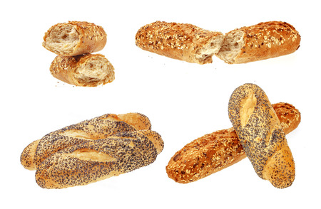 baguet: Collection of Fresh Buns. Isolated over the white background.