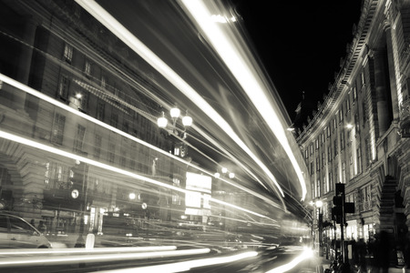 Lights of a city at night. Monochrome photography. Stock Photo