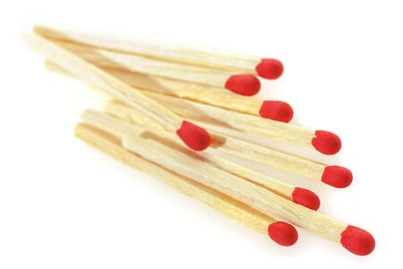consumable: Matchsticks on a white background. Soft focus view.