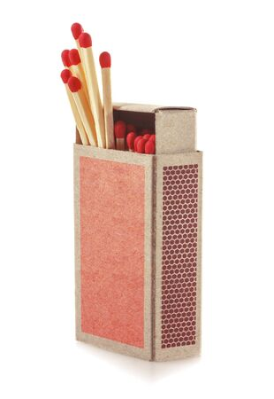 protruding: Matches protruding from the box. Isolated on white background. Soft focus.