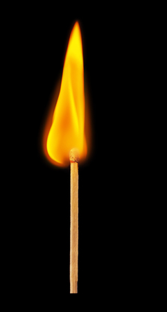 consumable: Matchstick on a black background. Soft focus view.