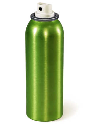 Spray Can. Green aluminum aerosol can, isolated on white. Stock Photo