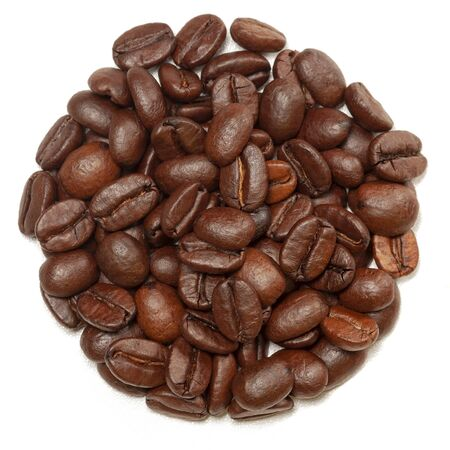 Coffee beans in form of circle. Isolated on white. Coffee background.