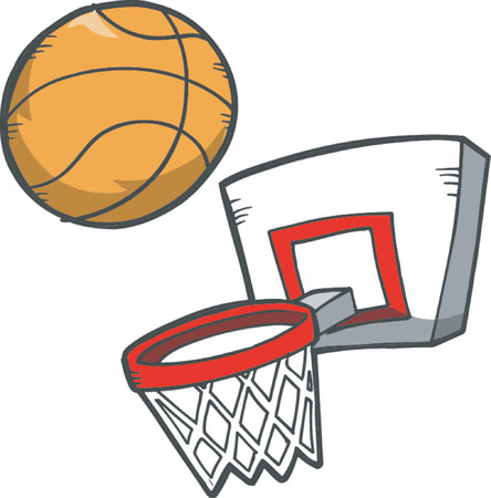Vector Illustration of Basketball & Basketball Hoop
