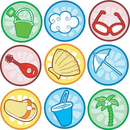 sandal tree: Playa iconos ilustraciones de vectores
