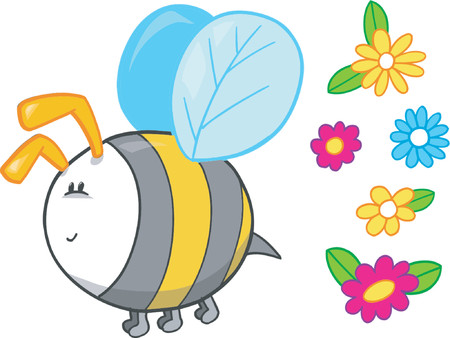 Bee and Flowers Vector Set