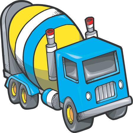 Cement Truck Vector Illustration