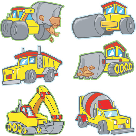 Construction Vehicles Vector Illustration Illustration