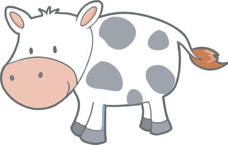 happy farmer: Vector Illustration of Cow
