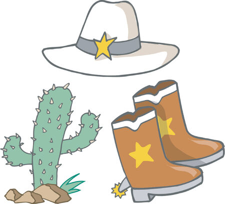 cowgirl boots: Vector Illustration of CowboyCowgirl Elements