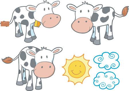 happy farmer: Vector Illustration of Cows