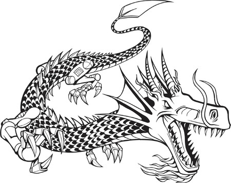 Vector Illustration of a Cyborg Dragon Vector
