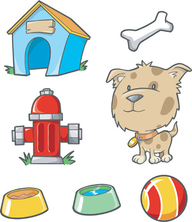 Vector Illustration of Dog and Objects Stock Vector - 892587
