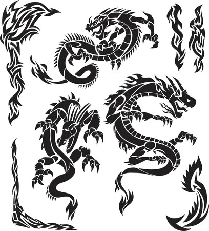 Iconic Dragons & Tribal Borders Vector Illustration Ilustração