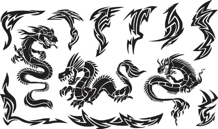 Vector Illustration of Iconic Dragons & Tribal  Designs