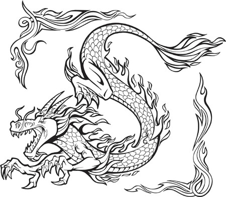 Vector Illustration of a Fire Dragon with Tribal Borders Vector