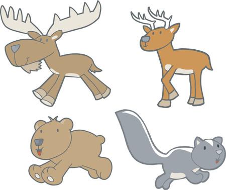 Vector Illustration of Woodland Creatures Illustration
