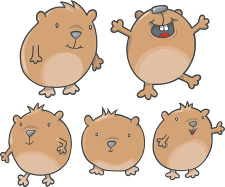 Happy Guinea Pig Vector Illustration
