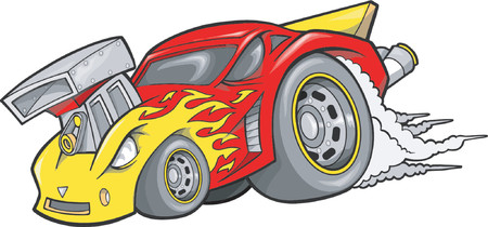 hotrod: Hot-Rod Race-Car Vector Illustration