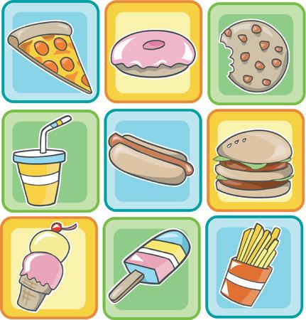 frozen treat: Vector Illustration of Junk Food