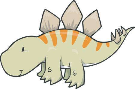 stegosaurus: Cute Stegosaurus Dinosaur Vector Illustration Illustration