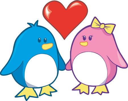 Vector Illustration of Two Love Birds Vector